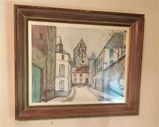 Maurice Utrillo V. Print.  Street Scene:  $27.00