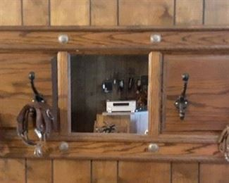 """Custom Made 50""""x19"""" Solid Wood, Conchos and Center Mirror"""
