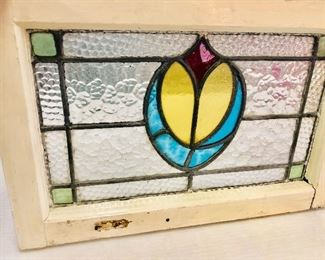 Antique Leaded Stain Glass Window