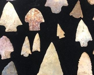 Downsizing/ Liquidating long time Collection of Native American Arrowheads , drills, scrapers and small hand tools found legally on private properties with permission. Will be Sold by choice . Some are museum quality.