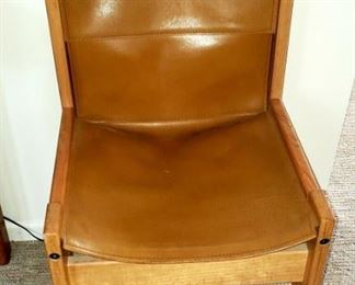 mcm leather side chair