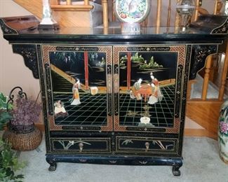 Oriental cabinet with mother of pearl inlay