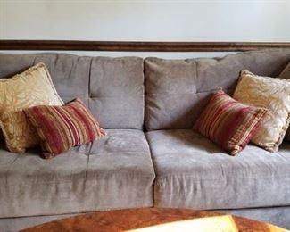 "88"" Grey Microfiber Sofa"
