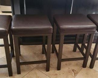 4 Leather Seat Kitchen Stools