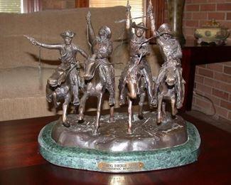 "Fredrick Remington ""Through the Rye"" bronze statue"