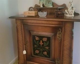 Pair of lovely hand painted wooden cabinets, Foo Dogs