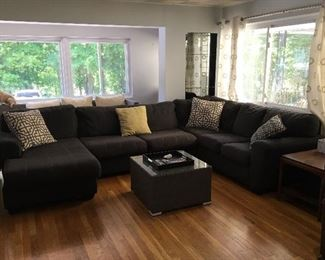 "Ashley Sectional Couch with Chaise 137"" x 84"""