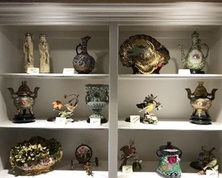 Moriagas, Capidemonte, Porcelain bird figurines,  Brass incense burners,