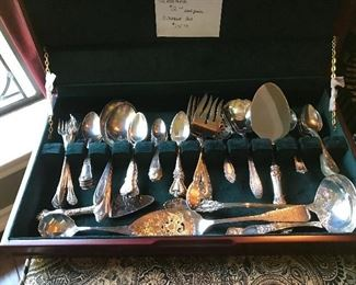 Box with silver plate pieces, misc patters