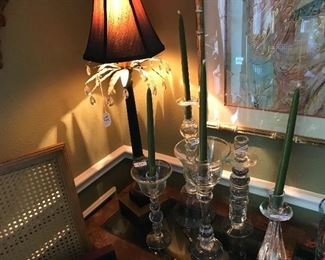 Table top lamp. Glass candlesticks