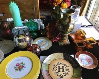 Hand painted China,  sets of china plates, tall green Fenton vase and candy dish, carnival glass and Waterford, Italian painted vases with flowers