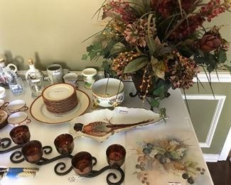 Large vase with flowers, hand painted tile,  China tea set, Bavarian Soup and salad set