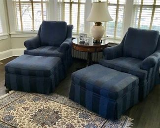 Pair of Blue Henredon Chairs, Matching Ottomans, Silk Oriental Carpet, Henredon Round table and Herend Pieces.