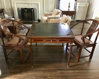 Maitland-Smith Game Table with Asian Rattan Chairs
