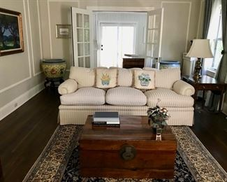 Baker Couch, Antique Chest/Coffee Table, Jade Tree,  Large Cream and Blue Oriental Carpet