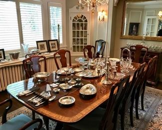 Henredon Double Pedestal Table, 10 Chairs, Large Ortiental  Carpet, Sterling, Crystal,  and more.