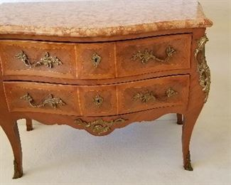 2 drawer, marble topped French Commode