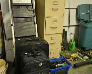 LADDER, LUGGAGE, FILE CABINET
