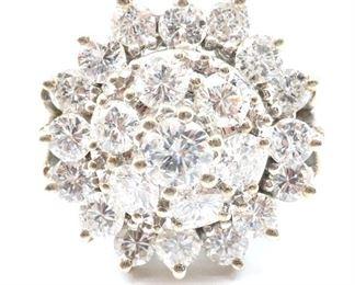 14 kt White Gold Diamond Cluster Ring