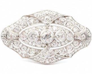 Art Deco Period Platinum & Diamond Brooch