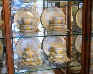 GERMAN FLORAL CHINA SET-SERVICE FOR 12-8PC PLACE SETTING. ONLY 2 PCS MISSING