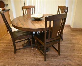 BEAUTIFUL NEWER WOOD TABLE W/4 CHAIRS