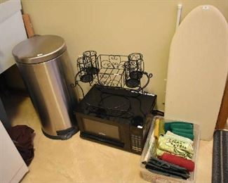 TRASH CAN, MICROWAVE, IRONING BOARD