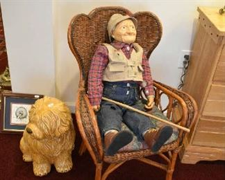 SMALL WICKER CHAIR, FISHER DOLL