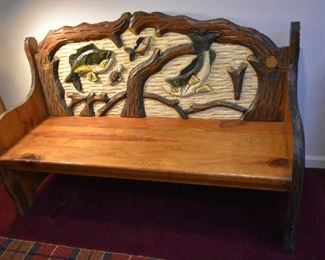 CARVED WOOD FISH BENCH