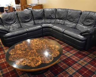 LEATHER SECTIONAL SOFA, COFFEE TABLE