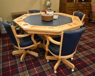 BEAUTIFUL GAME TABLE WITH REVERSIBLE TOP & 4 ROLLING CHAIRS