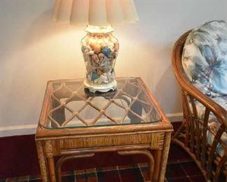 WICKER TABLE, SHELL LAMP