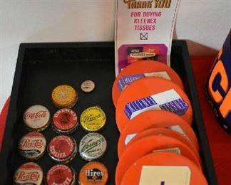 VINTAGE BOTTLE CAPS, VINTAGE KLEENEX PINS