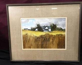 Art  Ed Gifford American Artist White Farm House Original Art
