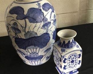 Asian Ceramic Ginger Jar and Vase