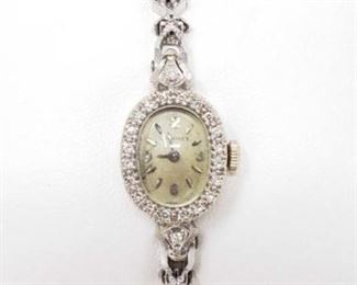 # 7 -Longines 14k White Gold Gold Watch With Diamonds, 18.4g Weighs approx 18.4g