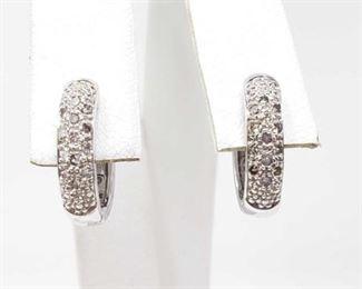 # 12 -14k White Gold Diamond Earrings, 3.7g Weighs approx 3.7g
