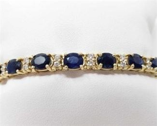 """# 19 -14k Gold Diamond and Sapphire Bracelet, 21.7g Weighs approx 21.7g, measures approx 7"""" long"""