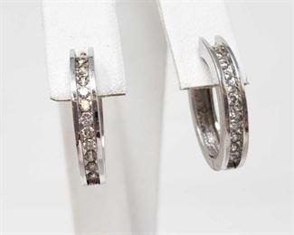 #24 -14k White Gold Diamond Earrings, 5.6g Weigh approx 5.6g