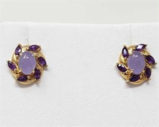 #34: 14k Gold Earrings with Amethyst and Lavender Jade, 2.8g Earring weigh approx 2.8g