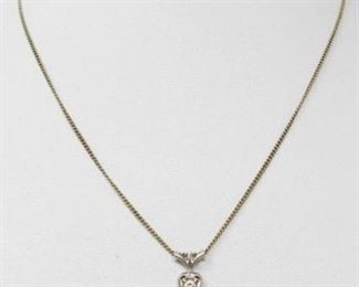 """#60: 18k White Gold Diamond Pendent on a 14k Chain, 2.7g Pendent and chain together weigh approx 2.7g, chain measures approx 15"""""""
