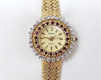 #43: Geneve Watch with Rubies and Diamonds Around Face Geneve Watch with Rubies and Diamonds Around Face 43A