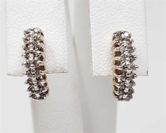 #73: Pair of 14k Gold Diamond Earrings, 2.4g Weighs approx 2.4g
