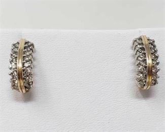#108: Pair of 14k Diamond Earrings, 4g Earrings weigh approx 4g