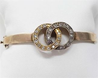 #146: 14k Gold Bracelet with Diamonds, 15.9g Weighs approx 15.9g