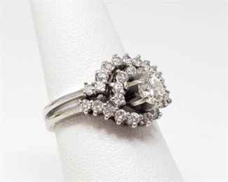 #209: 14k White Gold Diamond Ring with Diamond Band, 4.6g Weigh approx 4.6g, center diamond is 1/4 ct, size 6.5