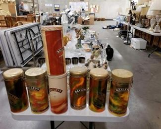 #1100: Collection of Bailey's Canisters Made out of Tin/ Aluminum Measurement in pictures