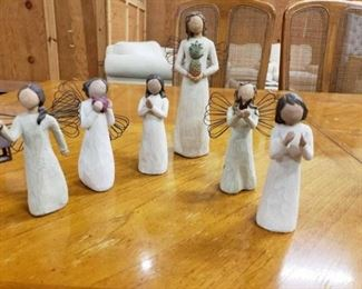 #1104: 6 Willow Tree Figurines They are all hand panted and collectable.. measurements in Pictures
