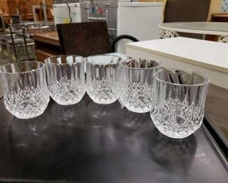 #1106: 6 Beauitful On The Rocks Crystal Whiskey Glasses 5 Measures 4 inches tall