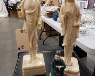 #1116: 4 Asian Art Figurines Look at measurements for sizes